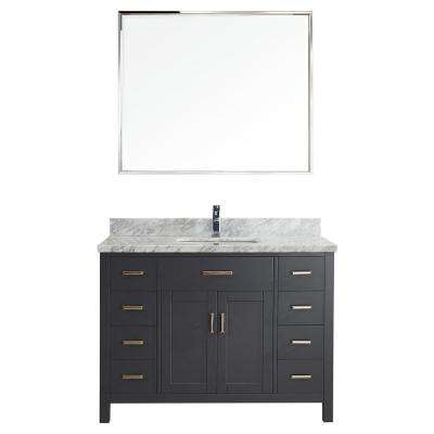 Kalize II 48 in. W x 22 in. D Vanity in Pepper Gray with Marble Vanity Top in Gray with White Basin and Mirror