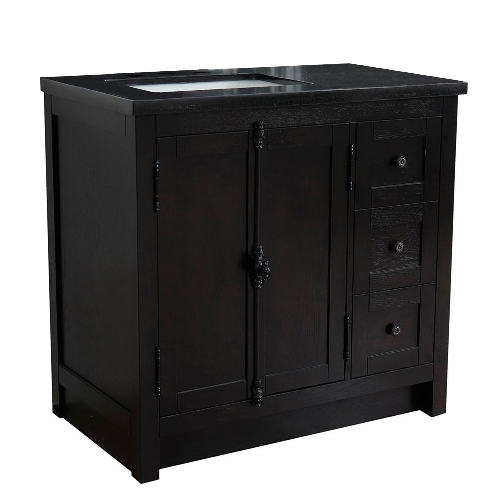 37. in. W x 22 in. D x 36 in. H Bath Vanity in Brown Ash with Black Granite Vanity Top and Left Side Rectangular Sink