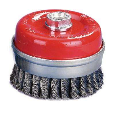 4 in. x 5/8 in.-11 Threaded Arbor Twist Wire Cup Brush 0.02 in. Wire