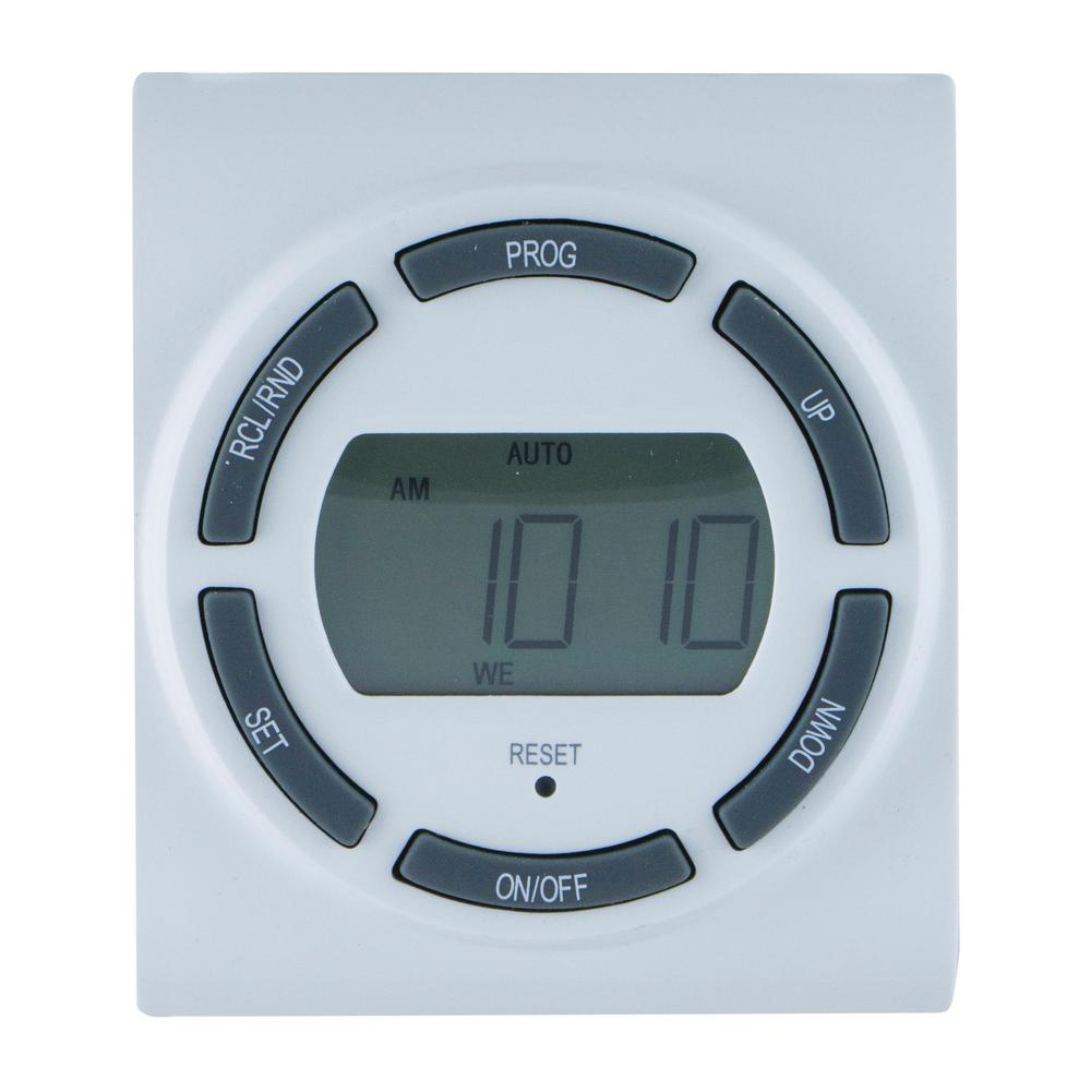 GE 15 Amp 7-Day Indoor Plug-In SunSmart Digital Timer with 2-Grounded Outlets, White