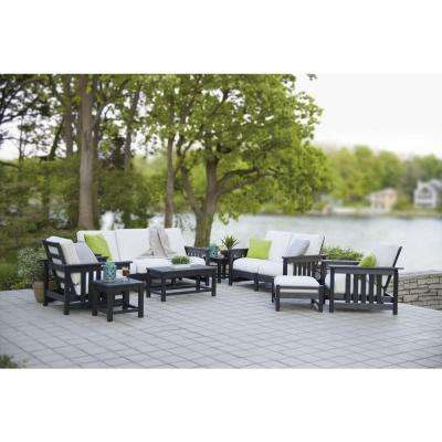 Mission Black 8-Piece Plastic Patio Deep Seating Set with Sunbrella Bird's Eye Cushions