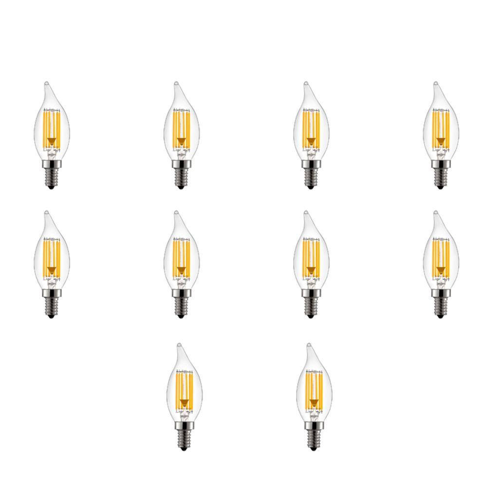 60-Watt Equivalent B11 Dimmable Clear Torpedo Filament LED Light Bulb Warm White 2700K (10-Pack)