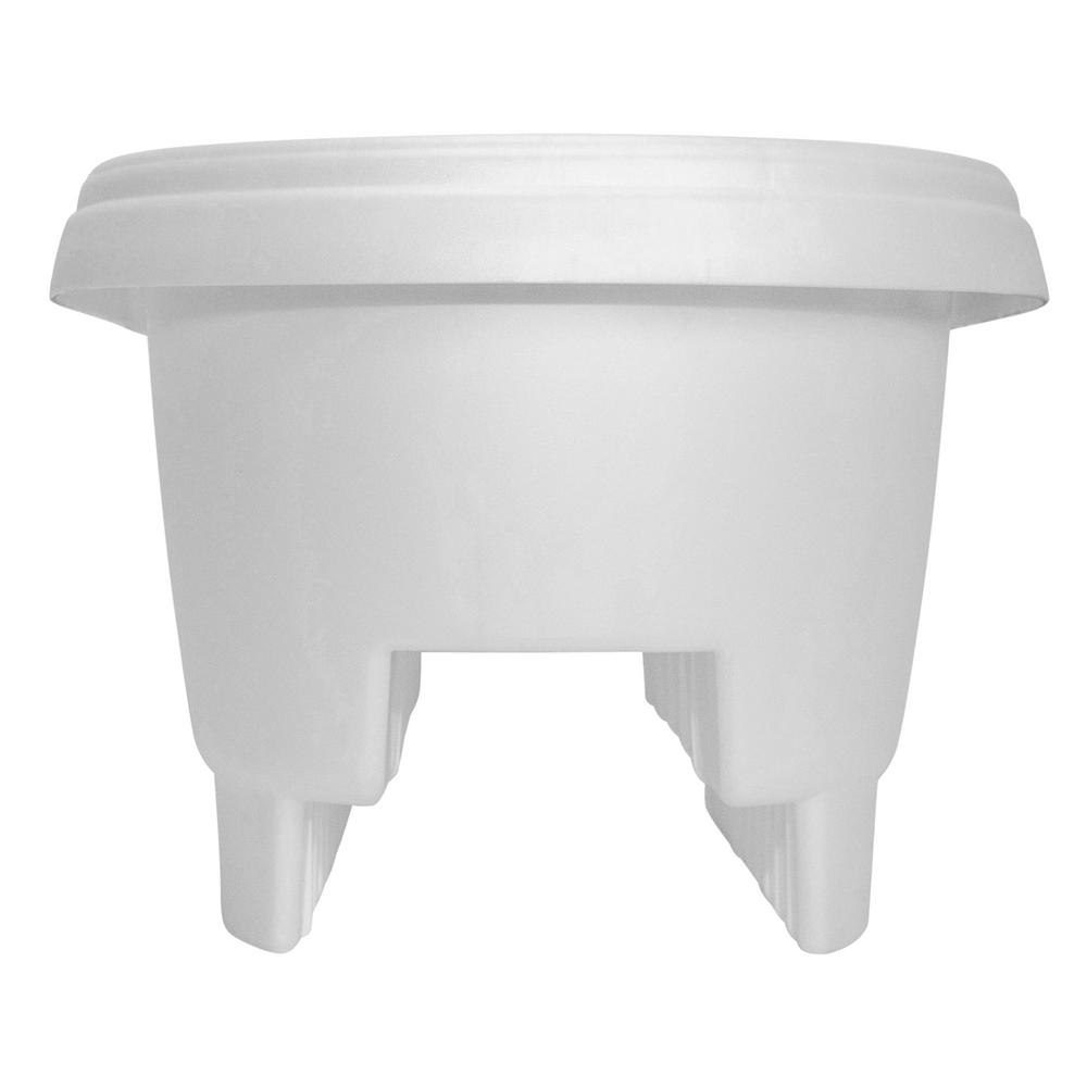 Bloem 12 in. x 9 in. Casper White Plastic Deck Rail Planter