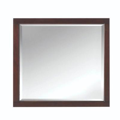 33 in. W x 36 in. H Framed Rectangular  Bathroom Vanity Mirror in Cocoa