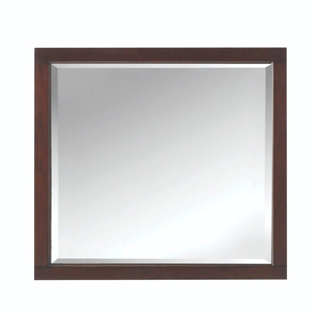 33 in. W x 36 in. H Framed Rectangular  Bathroom Vanity Mirror in Cocoa