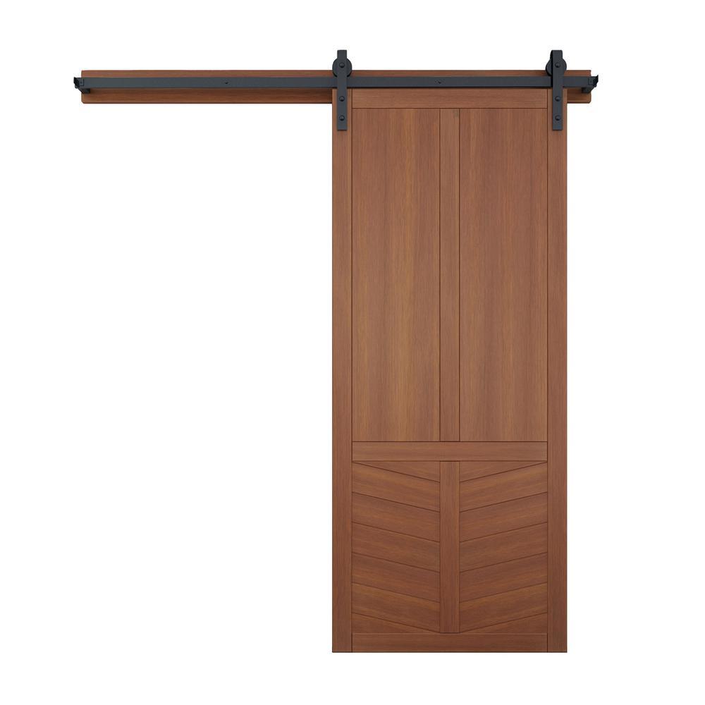 42 in. x 84 in. The Robinhood Coffee Wood Barn Door with Sliding Door Hardware Kit