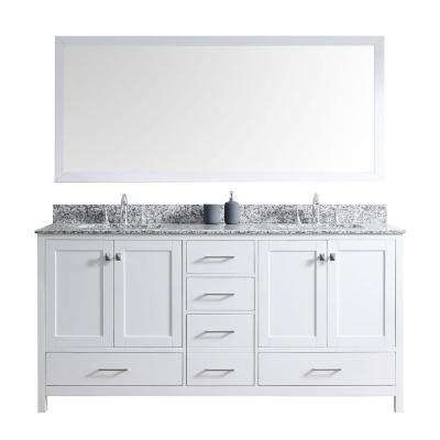 Caroline Madison 72 in. W Bath Vanity in White with Granite Vanity Top in Arctic White with Square Basin and Mirror