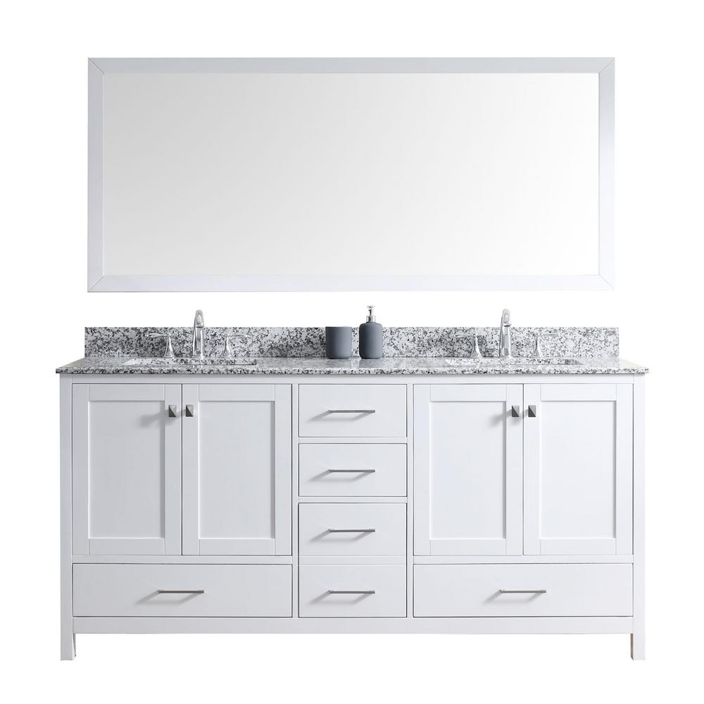 Virtu Caroline Avenue 60'' Double Bathroom Vanity Set with Marble Top, Faucet and Mirror