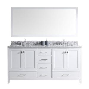 Virtu USA Caroline Madison 72 inch Vanity in White with Granite Vanity Top in Arctic White with White Square Basin and... by Virtu USA