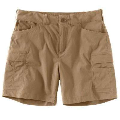 WOMEN'S 2 DARK KHAKI NYLON/SPANDEX STRAIGHT FIT FORCE MADDEN CARGO SHORT