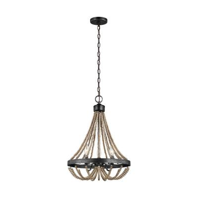 Oglesby 16 in. W 3-Light Stardust Chandelier with Washed Pine Beads and LED Bulbs