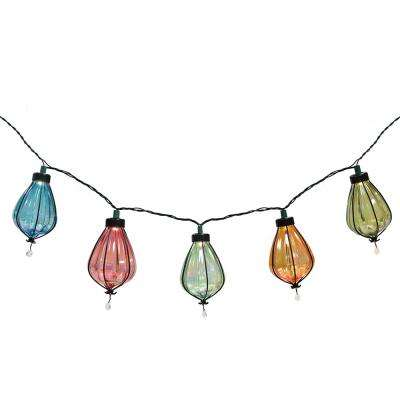 20-Light 488.5 in. Iridescent Plastic Cover Outdoor Integrated LED Umbrella String Light
