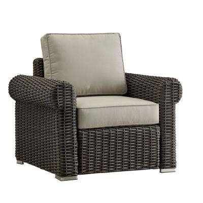 Camari Charcoal Rolled Arm Wicker Outdoor Patio Lounge Chair with Beige Cushions