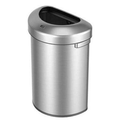 Urban Commercial Stainless Steel 60 in. l Half Round Open Top Trash Can