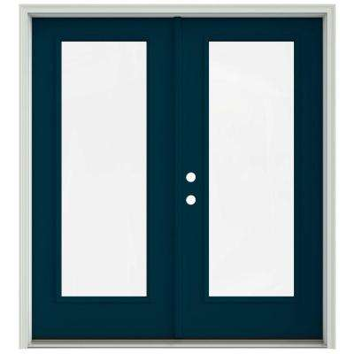 72 in. x 80 in. Revival Blue Painted Steel Right-Hand Inswing Full Lite Glass Stationary/Active Patio Door