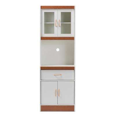 Laurana White and Cherry Brown Kitchen Cabinet with Hutch