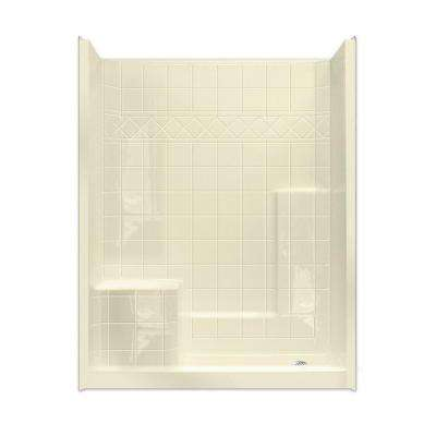 Standard 32 in. x 60 in. x 77 in. Walk-In Shower System in Bone with Low Threshold and Left Seat