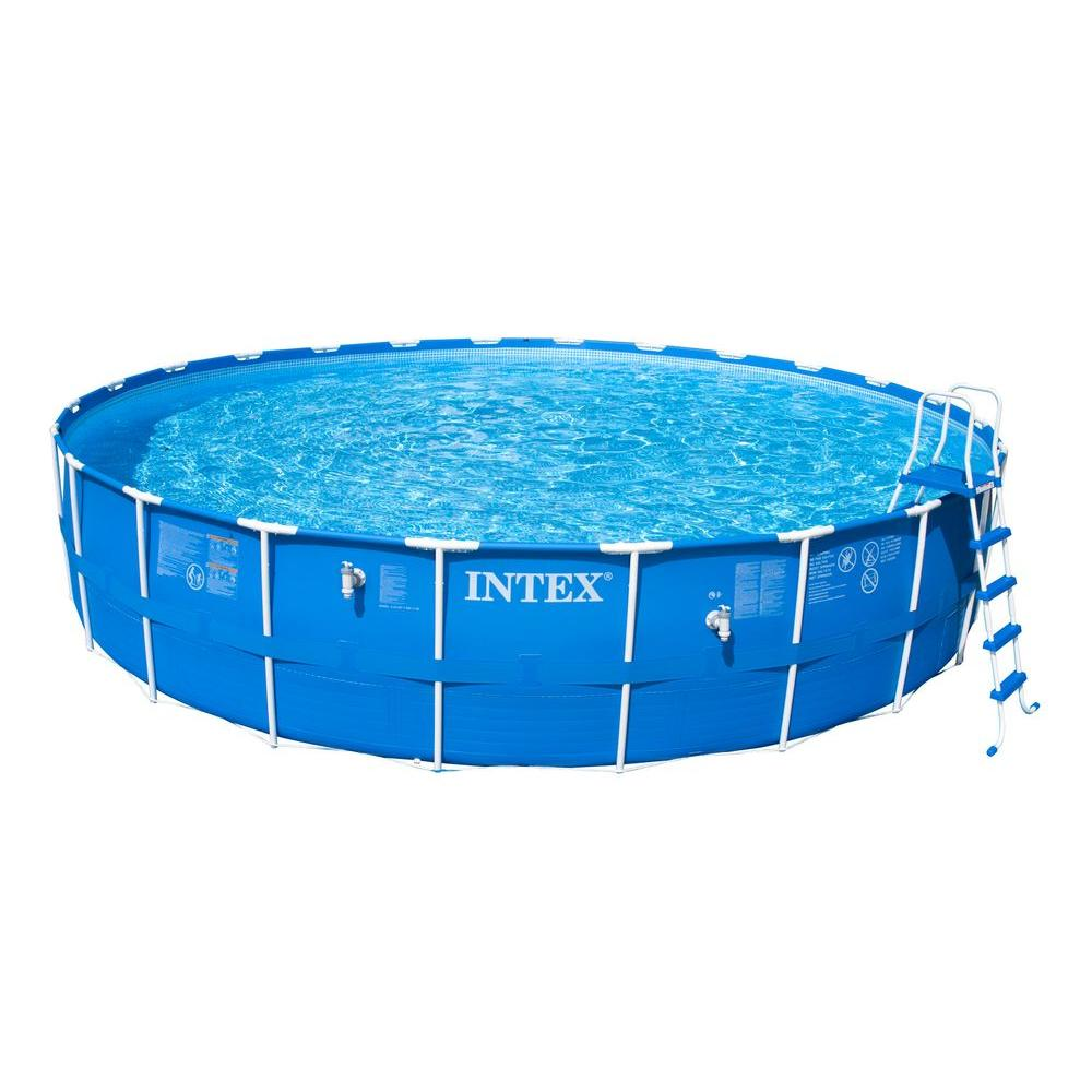 Intex 24 ft. Round x 52 in. Deep Metal Frame Above Ground Pool Set
