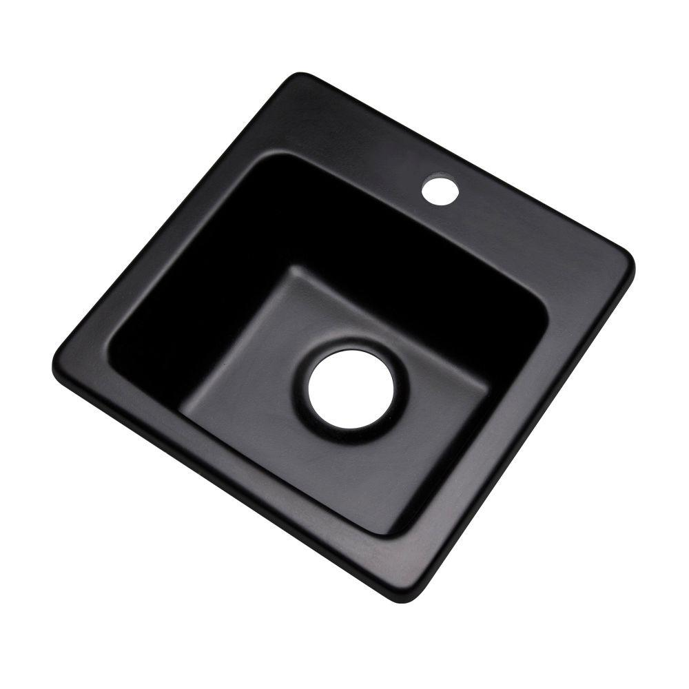 Mont Blanc Westminster Dual Mount Granite Composite 16 In 1 Hole Bar Single Bowl Kitchen Sink Black 17199q The Home Depot