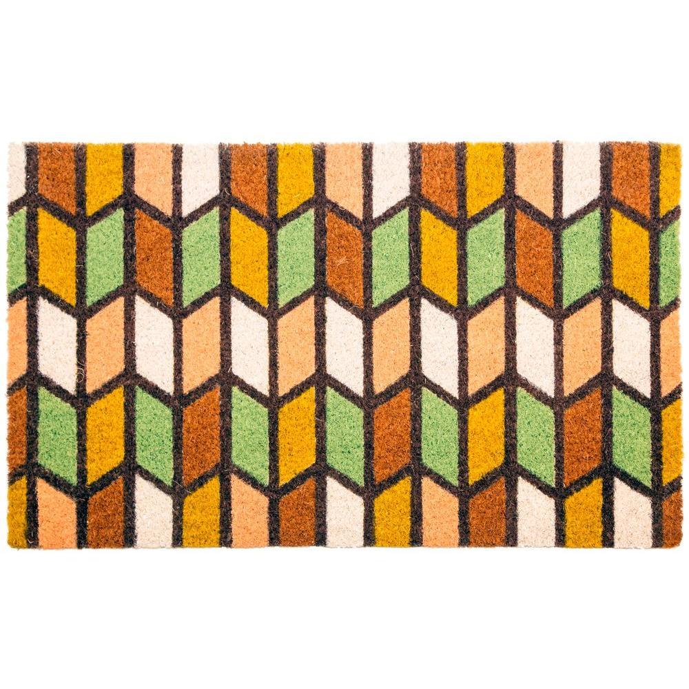 Earth Tones 17 in. x 28 in. Non-Slip Coir Door Mat