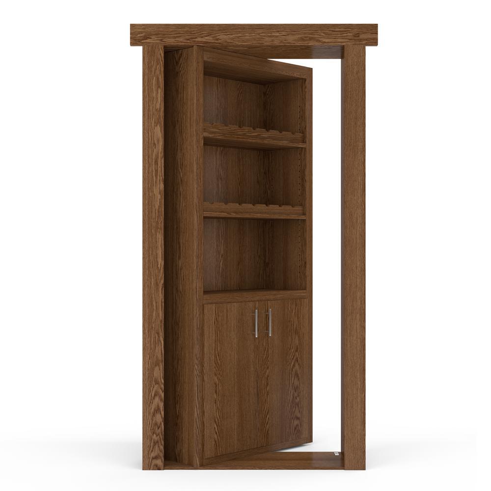 36 in. x 80 in. Flush Mount Assembled Oak Medium Stained Left-Hand Inswing Wine Rack Door