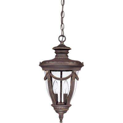 2-Light Outdoor Belgium Bronze Hanging Lantern with Seeded Glass