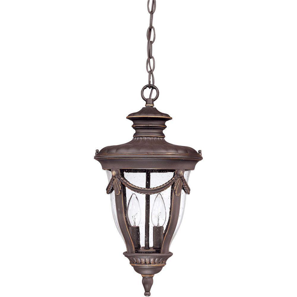 2-Light Outdoor Belgium Bronze Hanging Lantern with Seeded Glass