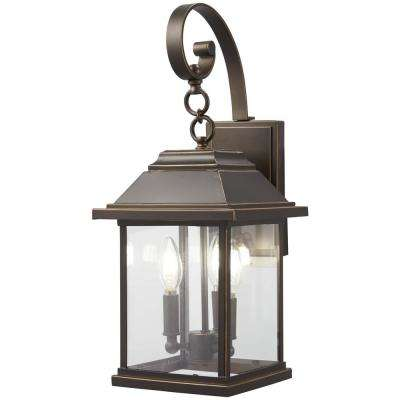 Mariner's Collection 3-Light Oil Rubbed Bronze with Gold Highlights Outdoor Wall Mount Lantern