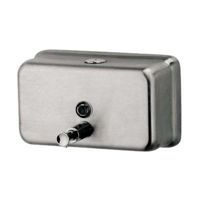 Horizontal Liquid Soap Dispenser in Silver