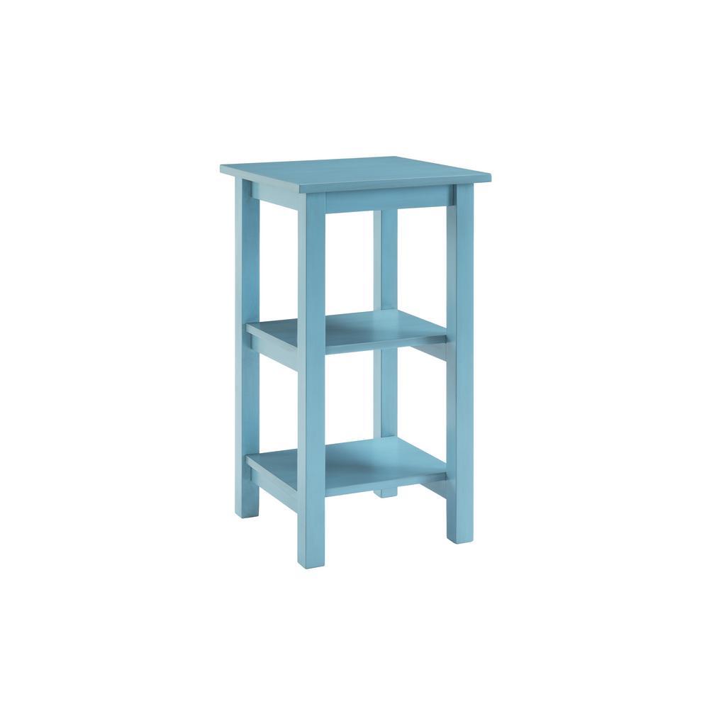 Landry 30 in. Deep Sky Blue Wood 2-Shelf Bookcase