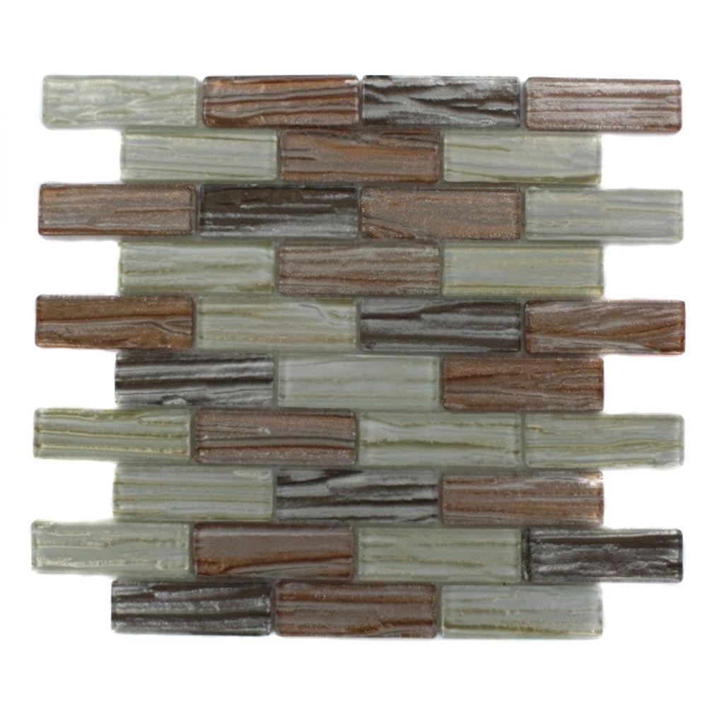 Splashback Tile Gemini Mercury Blend 12 in. x 12 in. x 8 mm Glass Mosaic Floor and Wall Tile