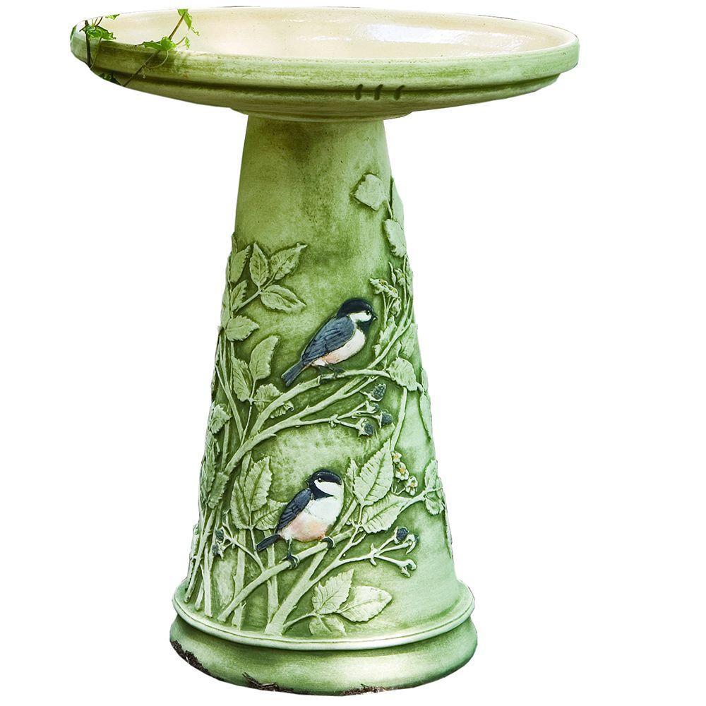 Burley Clay Chickadee Hand-Painted Glazed Interior Birdbath Set