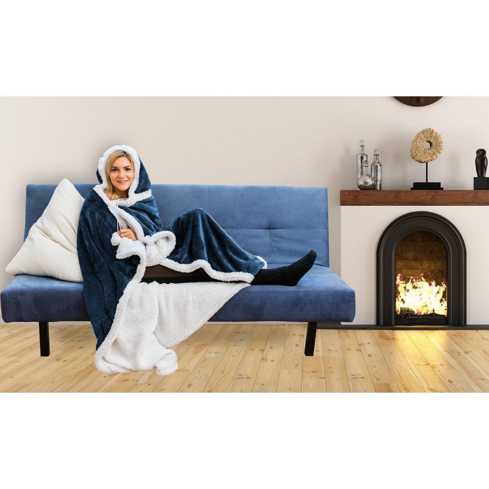 Gigi Solid Reversible Hooded Throw Blanket 51 in. W x 71 in. L in Navy