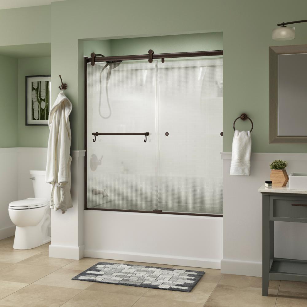 Portman 60 in. x 58-3/4 in. Semi-Frameless Contemporary Sliding Bathtub Door in Bronze with Droplet Glass