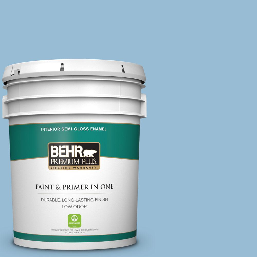 Behr Premium Plus 5 Gal Ppu14 11 Gentle Sky Semi Gloss Enamel Low Odor Interior Paint And Primer In One 305005 The Home Depot