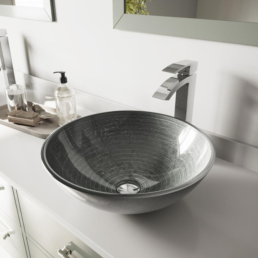 VIGO Glass Vessel Bathroom Sink in Simply Silver and Duris Faucet Set in Chrome