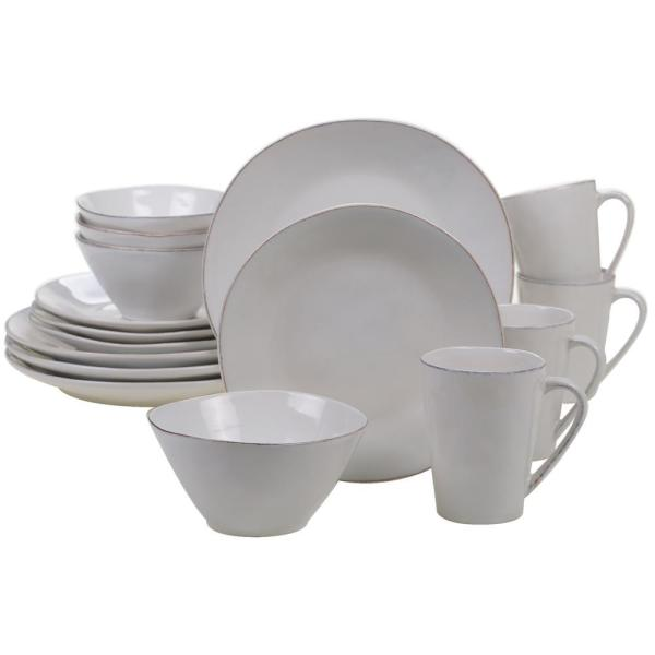 Harmony 16-Piece Traditional Cream Ceramic Dinnerware Set (Service for 4)