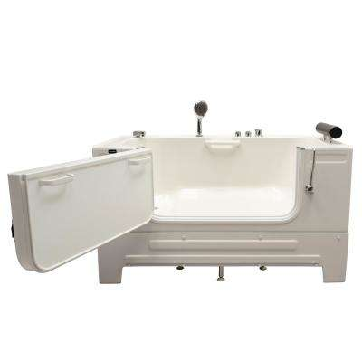 Neptune 59 in. Walk-In Soaking Bathtub in White with Left Drain