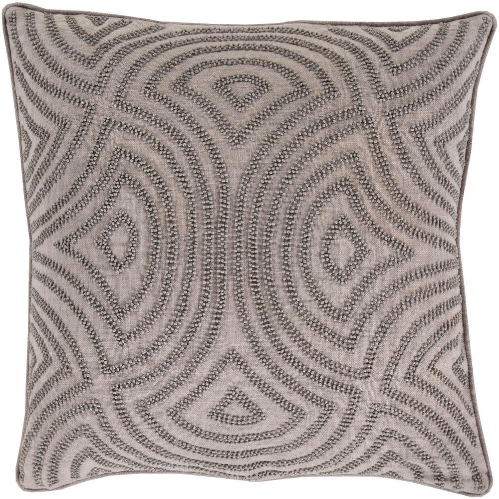 Habana Grey Geometric Polyester 18 in. x 18 in. Throw Pillow