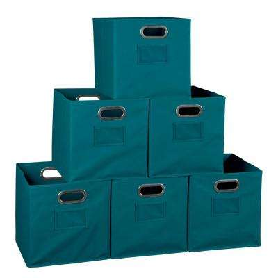 Cubo 12 in. x 12 in. Teal Foldable Fabric Bin (6-Pack)