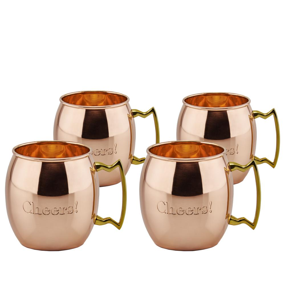 "16 oz. Solid Copper ""Cheers!"" Moscow Mule Mugs (Set of 4)"