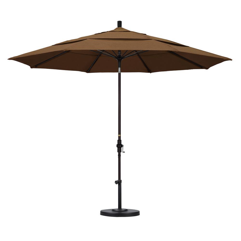 11 ft. Bronze Aluminum Market Patio Umbrella with Fiberglass Ribs Collar Tilt Crank Lift  in Teak Sunbrella
