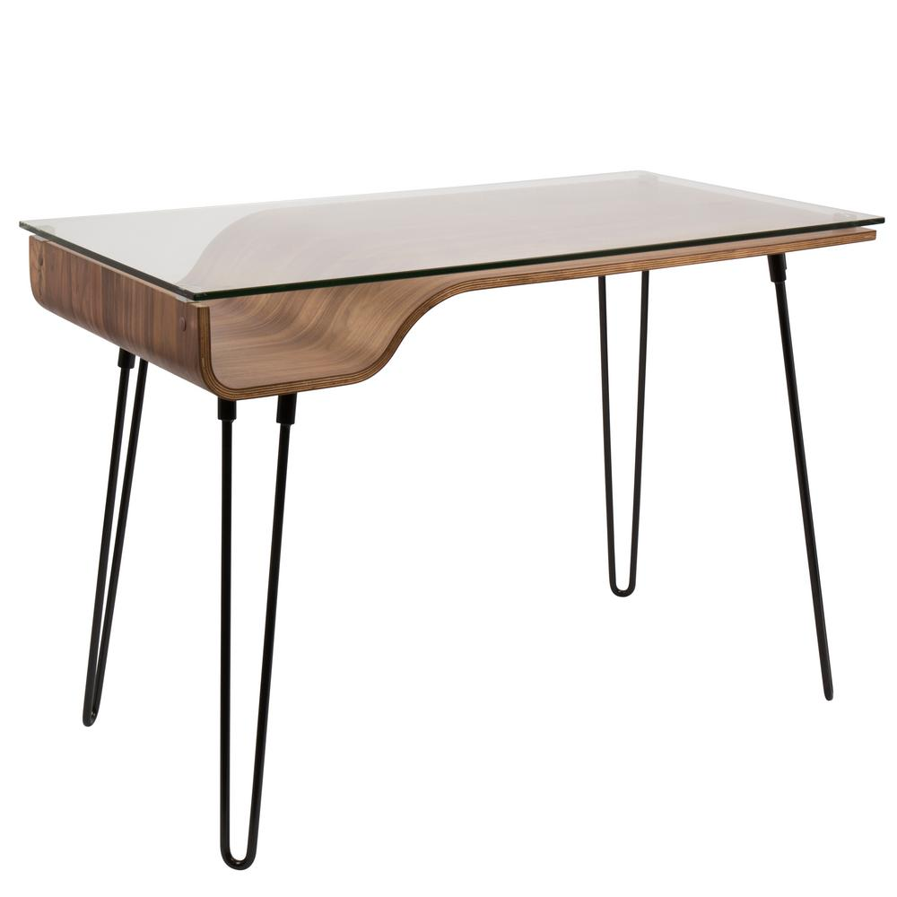 Lumisource Avery Walnut Desk With Clear Tempered Glass Top