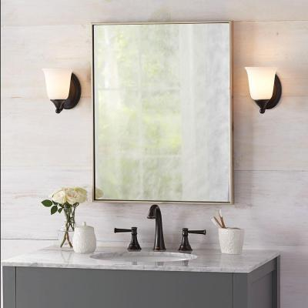 22 in. W x 28 in. H Framed Rectangular Anti-Fog Bathroom Vanity Mirror in Silver Finish