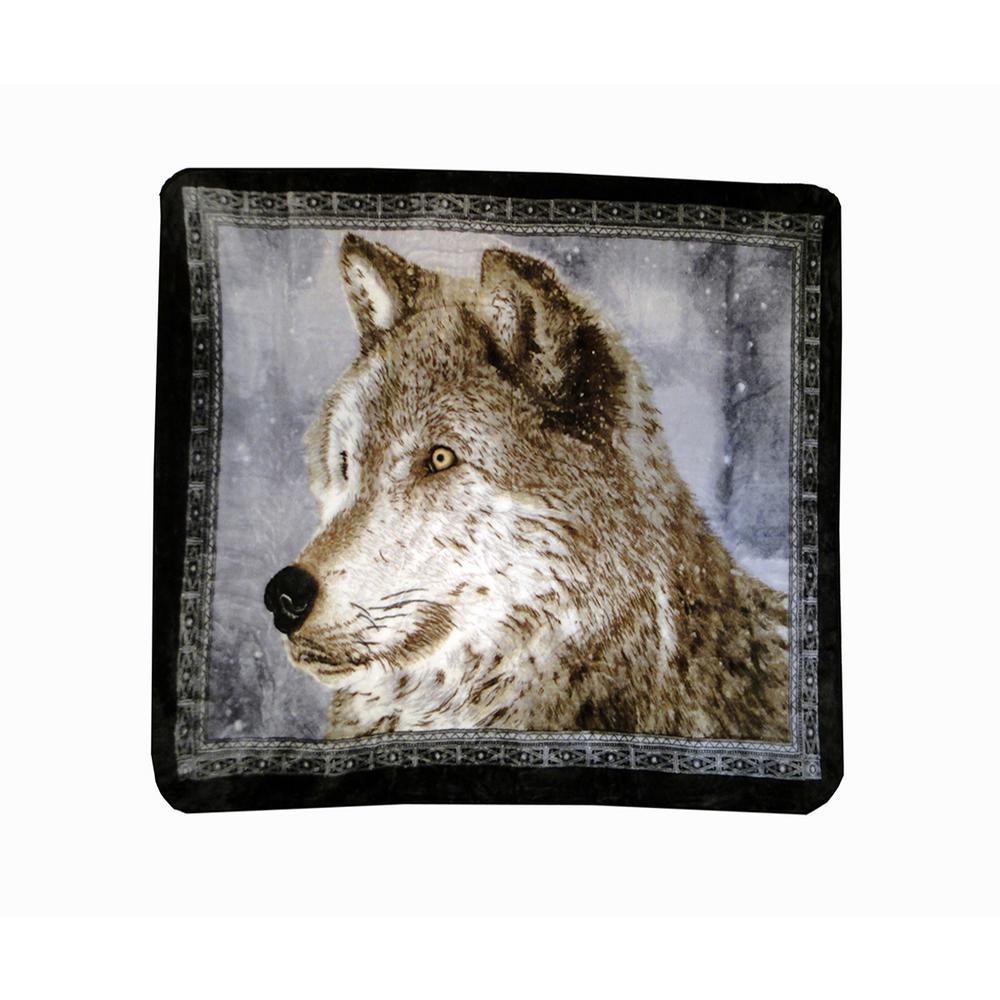 80 in. x 60 in. High Pile Snowy Wolf Raschel Knit Throw