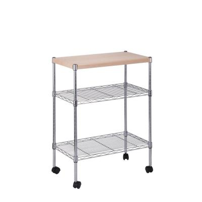 3-Tier Steel Utility Cart in Chrome with Wood Top