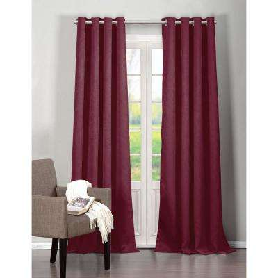 Blackout Quincy 96 in. L Extra Width Grommet Panel in Wine