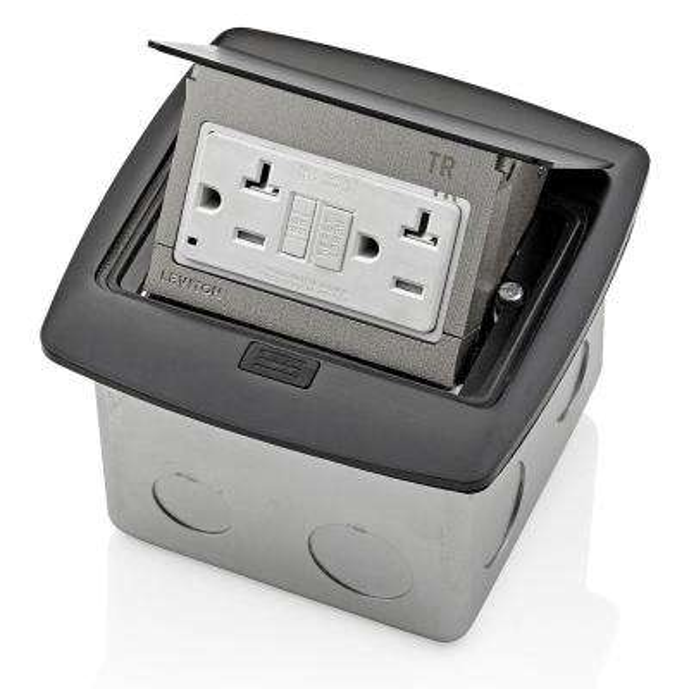 Pop-Up Floor Box with 20 Amp, Tamper-Resistant Self-Test GFCI Outlet, Black