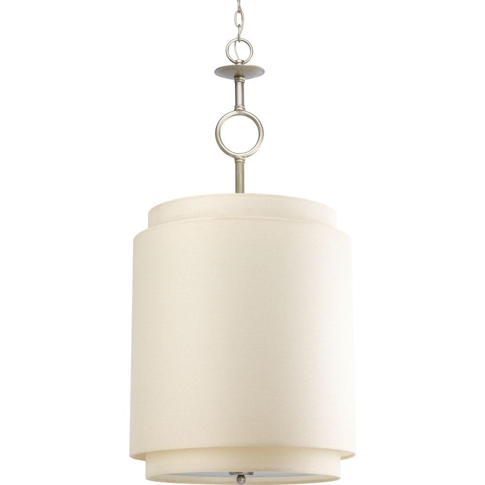 Progress Lighting Ashbury Collection 3-Light Silver Ridge Pendant with Toasted Linen Shade