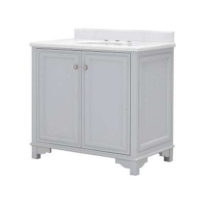 Iris 36 in. W x 22 in. D x 34.5 in. H Bath Vanity in Dove Gray with Carrara Marble Top with White Basin